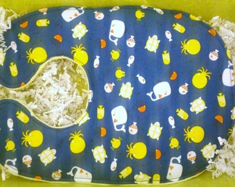 Baby yellow, blue and white whale and octipus  bib with burp cloth set
