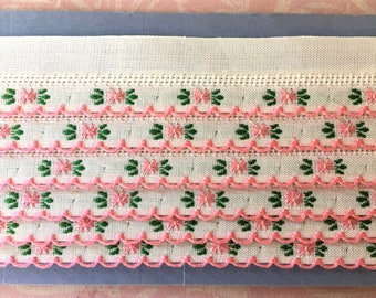 Pretty 1950's Trim with Pink Embroidered Posies and Green Leaves