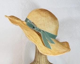Wide Brim Straw Sunhat in Buttercup ~ Clarissa ~ Kentucky derby hat, summer wedding ~ handmade by Bonnet, your local Portland millinery