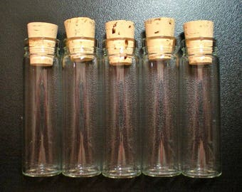 50% OFF SALE 62 XX Large Size Glass Bottle Vials with Corks. Size 2 3/4 inch tall- item 2170