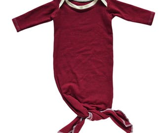 Solid Burgundy Knotted Gown, knotted sleeper, take home outfit, coming home outfit, baby shower gift, knotted baby gown, newborn outfit