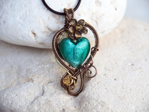 Green Heart pendant Wire wrapped lampwork glass necklace Anniversary Gift for women love gift for girlfriend her handmade one of a kind
