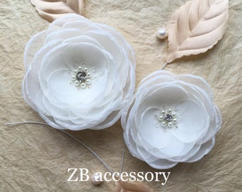 Ivory silk flower bridal headpiece, bridal brooch,  sew on dress sash ornament, ivory shoe clips, hair grip clip, flower with crystal pearls