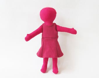 "Little monocromatic red doll,  Eco-friendly toy, waldorf inspired doll, first doll, unique doll, 11"" soft cloth doll, lovey, red head doll"
