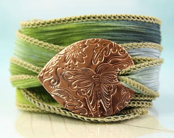 Wrap Around Bracelet With Copper Butterfly Woodland Focal