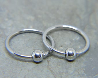 "Nipple Rings SET of 2 - Simple Plain Bead Captive Ring - CBR 16G or 14G 3/8"" 7/16"" 1/2"" 5/8"" Nipple Bars - Captive Bead Ring Any Piercing"