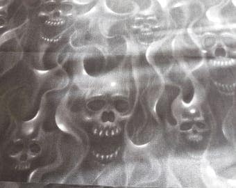 Skulls on Fire / Black - Alexander Henry Fabric 1 Yard