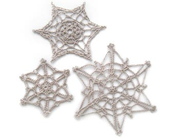 Lace Snowflake Ornaments, Linen, Set of 3 - Crochet Holiday Winter Decor Rustic Cottage Traditional Ivory Off-White Natural Tan