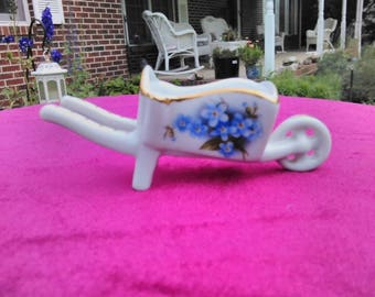 Gold Accented Miniature Ceramic Wheelbarrow