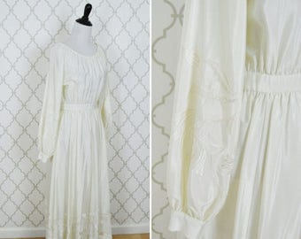 SUMMER SALE Vintage 70's Embroidered Cream Gown- Boho Casual Wedding Dress- Maxi Long Sleeve Wedding Dress - Cream Bohemian Casual Wedding -