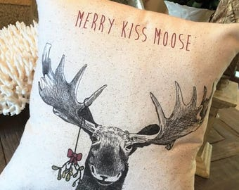 Moose Christmas Pillow, 12x12 or 12 x 18, rustic, Merry Kiss Moose, mistletoe, farmhouse, vintage