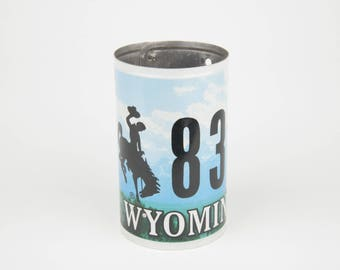 Recycled Wyoming License Plate Pencil Holder for Desk - Pencil Holder Teacher Gift - Wyoming Flower Vase - Wyoming Souvenir - Gift for grads