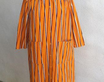 Vintage 1974 Modern Suomi-Finland Marimekko cotton stripe smock dress yellow pockets sz M 42/14 made in Finland