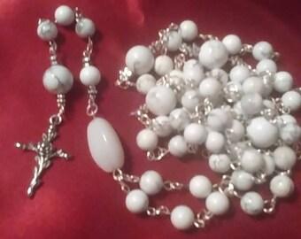 Howlite and Quartz stone rosary catholic Catholicism prayer beads christian