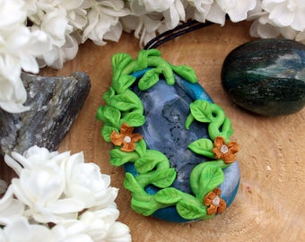 Polymer Clay Pendant with Moss Agate on Black Hemp Cord