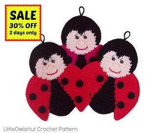 150 Ladybug decor or potholder - Amigurumi Crochet Pattern - PDF file by Zabelina Etsy