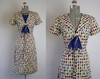 1960's Sewing Themed Novelty Print Cotton Dress / Size Medium