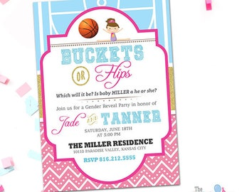 Buckets or Flips Gender Reveal Invitation, Basketball and Gymnastics Theme Invitation, Printable Baskets or Flips Gender Reveal Invitation