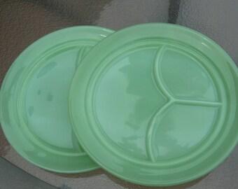 vintage fire king jadeite grill plates set of 2