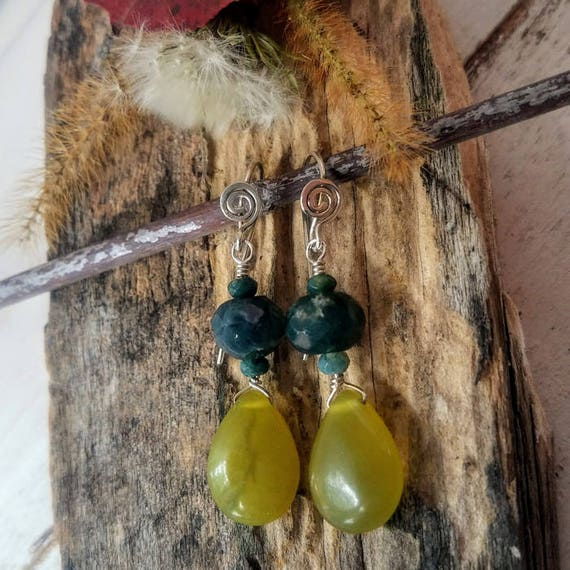 Green Olivine And Indian Agate Earrings In 935 Argentium Silver