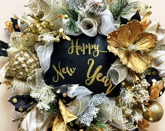 Reversible New Year's Wreath, Merry Christmas wreath,New Year's Eve Party Decoration, Front door Wreaths, Deco Mesh Wreath, Door Hanger,