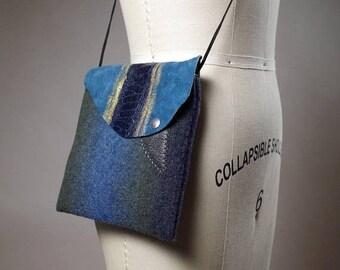 ON SALE Ombre Cashmere Small Bag - Cashmere and Leather Mini purse - Mini Leather Bag - Women's Accessories