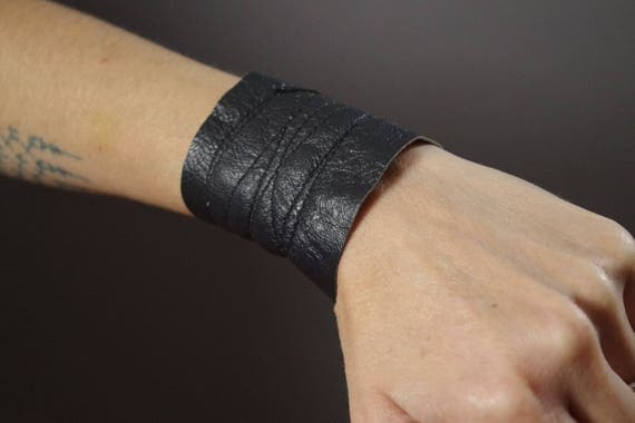 Reversible Leather Cuff Bracelet - Leather Cuff Bracelet - Leather Cuff - Black Leather Cuff - Leather Black Cuff