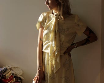 Soft Silky vintage yellow Dress with tie- Small