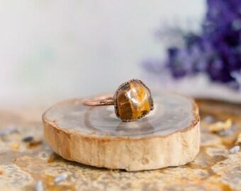 Copper Tiger's Eye Ring - Electroformed Ring - Copper Ring - Gemstone Ring - Boho Ring