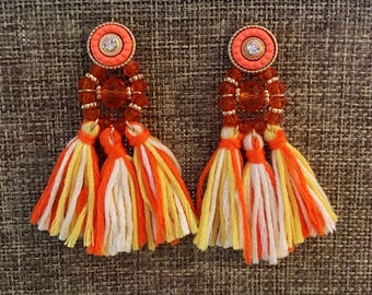 BRIGHT ORANGE CREAMSICLE Tassel Bridesmaid Earrings Tassel Statement Earrings Wedding Earrings Earrings Tassel Earrings