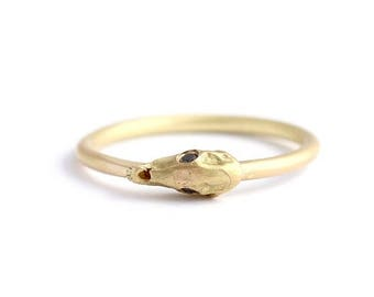 ON SALE Horse Skull Ring, Gold Skull Ring, Diamond Skull Ring, Black Diamond Ring, Skull Engagement Ring, Gold Animal Skull, Gold Dragon Rin