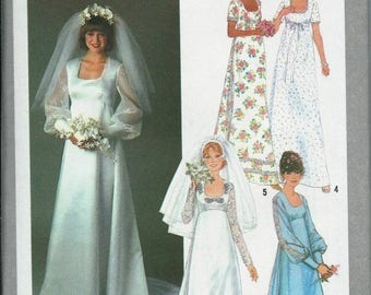 ON SALE VTG Bridal Gown and Bridesmaid Dress Pattern, Wedding Dress, Simplicity 8392, Available Sizes 8, 10, 12 & 14, Uncut