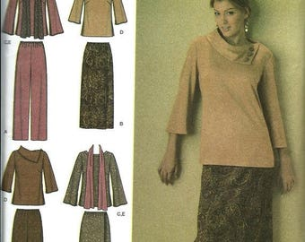 ON SALE Simplicity 4886 Misses Top, Pants, Skirt and Scarf Pattern, Size 10-18 UNCUT