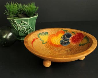 Vintage Primitive Style Wood Bowl Small Footed Dough Bowl with Painted Fruit Motif