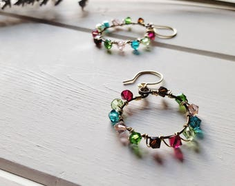 Christine Earrings -- Jewel Tone Hoops, Ready to Ship