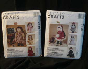 18 inch Doll Clothes Patterns, historical styles, McCall's 7435 Fancy Frocks + 7436 Winter Wonderland, dresses, coats, skating outfit, more
