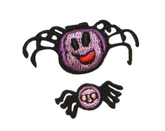 ID 0921AB Set of 2 Happy Spider Patches Halloween Embroidered Iron On Applique