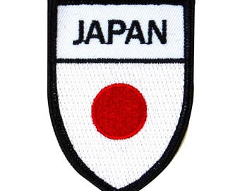 """Japanese """"Japan"""" National Flag Shield Iron-On Patch Country Team Pride Applique"""
