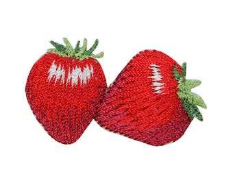 ID 3185A Pair of Strawberries Patch Sweet Fruit Embroidered Iron On Applique