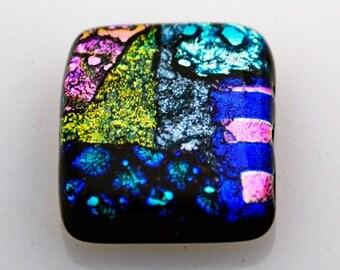 Dichroic Cabochon, Retangle Cabochon, 23 mm x 28 mm, Wire Wrap Supply, Mosaic Tile, Decorative Tile