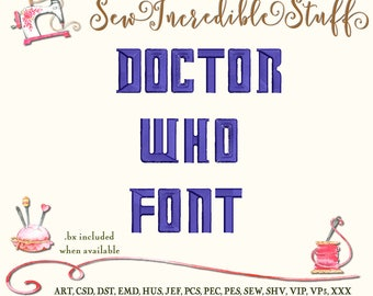 Dr. Who Machine Embroidery font
