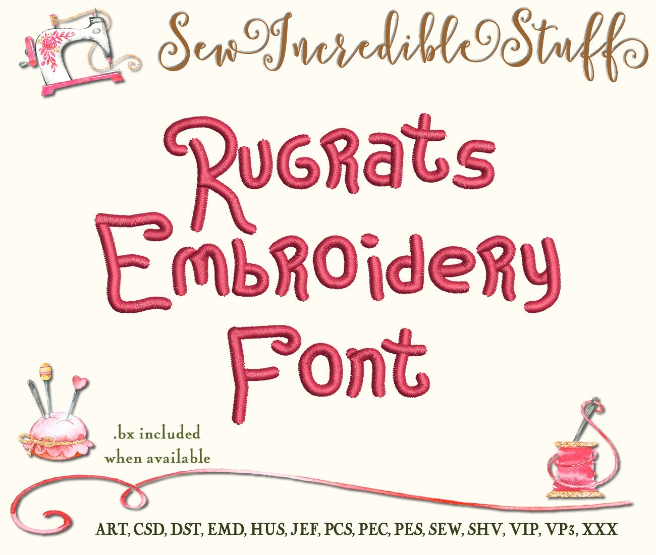 Rugrats Maschine Stickerei-Schrift von SewIncredibleStuff auf Etsy ...