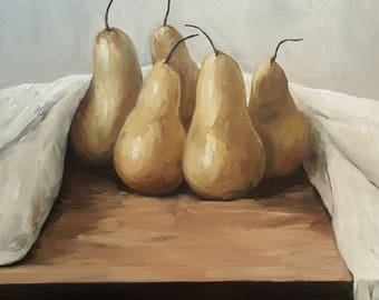Still life quality prints from original painting I did of pears and linen.