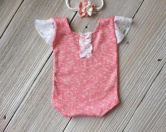 Pink Lace Newborn Romper Photo Prop SET with Headband - Newborn Baby Girl - Ready to Ship