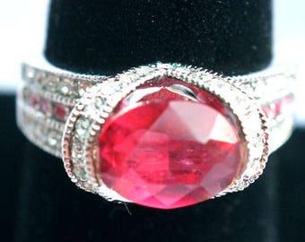 Vintage Big Pink Oval Glass Stone Fancy Designer Costume Ring Bling Bling