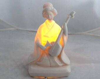 Vintage Nite Light & Perfume Burner by Irice Geisha Playing Strings Porcelin
