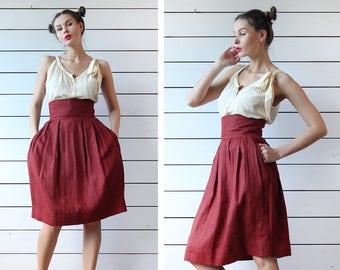 Vintage burgundy wine red pure linen below the knee length high waist full pencil midi skirt XS
