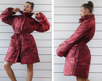 MARIMEKKO Vintage red abstract print warm winter padded oversized collar belted jacket puffer coat S M