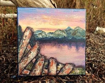 "Seascape Canvas Art   Coastal Painting   Ocean Art   Mountain Painting   6x6   ""Yesterday""   Saltons Cove Studio"