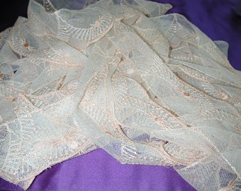 """No. 100 Antique Silk Embroidered Peachy/Salmon Tulle; 12 Yds and 26"""" x 2.25"""" pristine"""